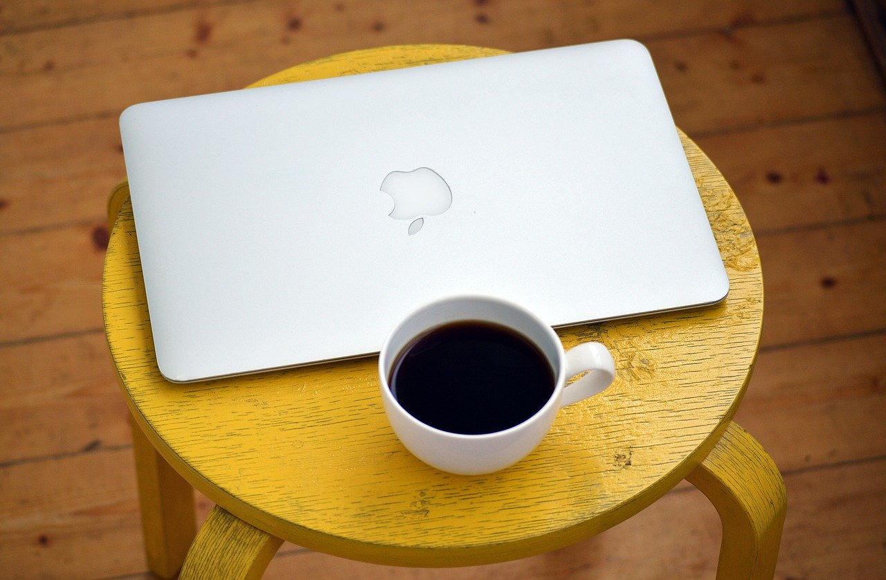laptop, computer, coffee