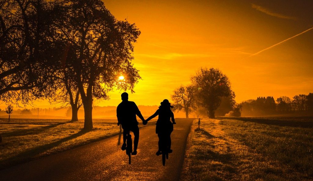 sunset, couple, bicycle